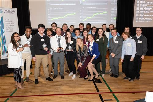 students competing at stock market challenge