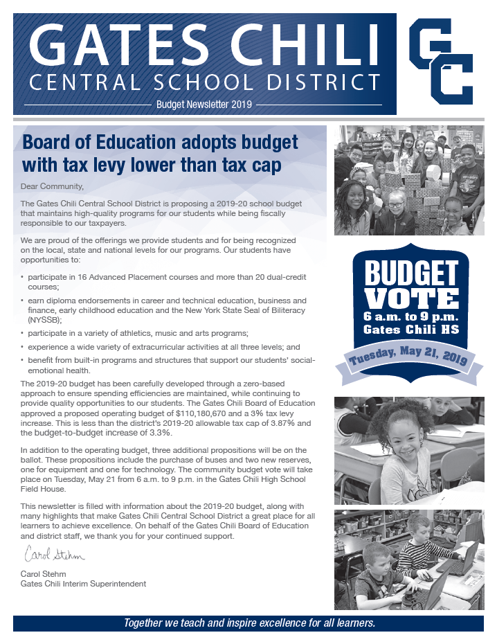budget newsletter front cover